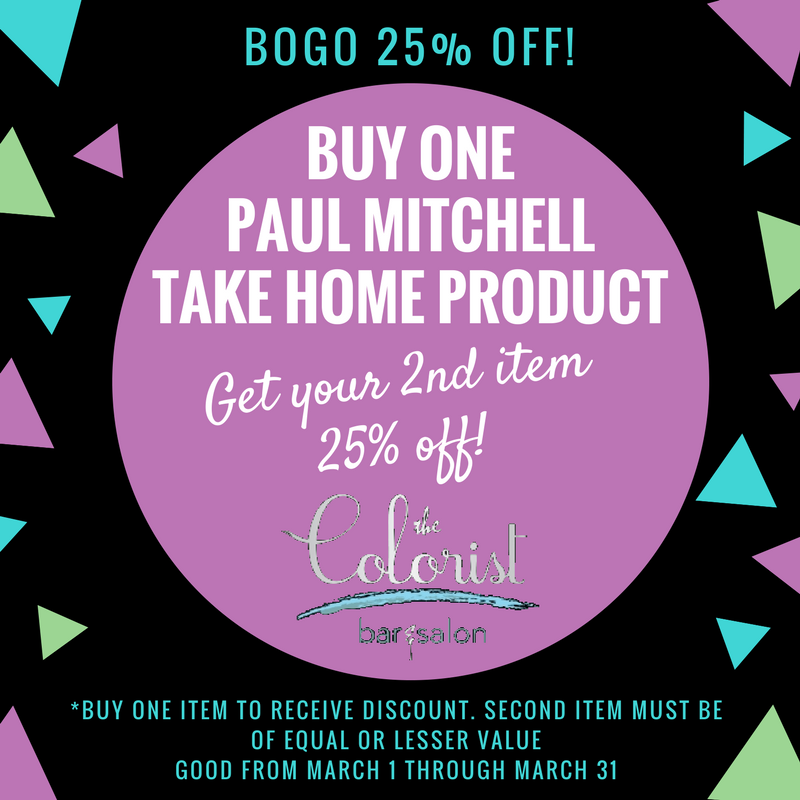 The Colorist Salon is offering a BOGO 25% off for the month of March!