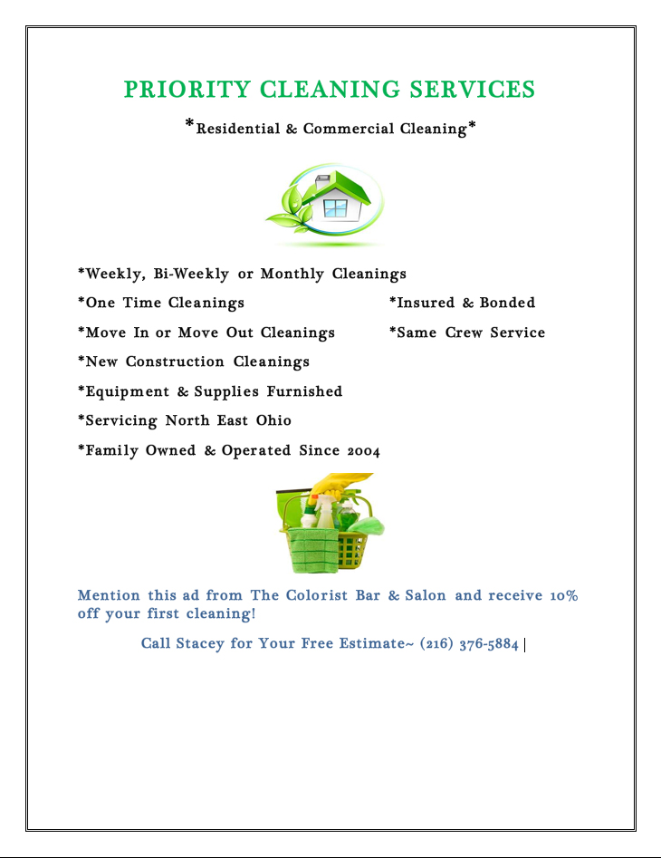 House Cleaning Coupon | The Colorist Bar and Salon