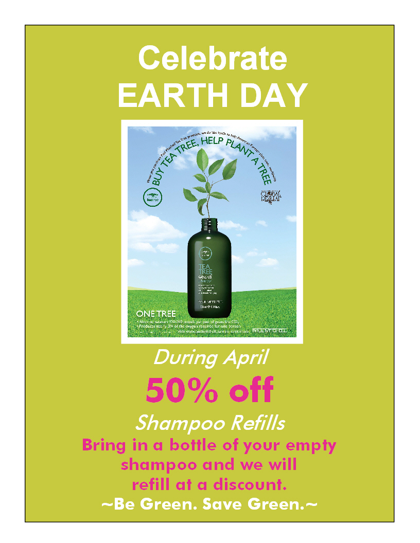 Earth Day 50 percent off shampoo refill