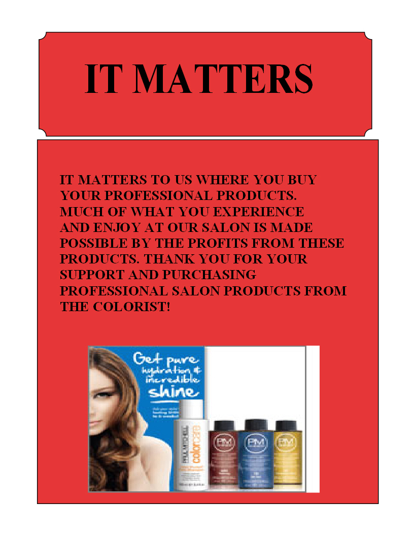 Professional Salon Products at The Colorist Bar and Salon